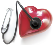 Illustration of a heart and a stethoscope